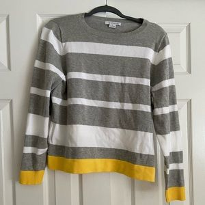 Gray, yellow, and white striped sweater